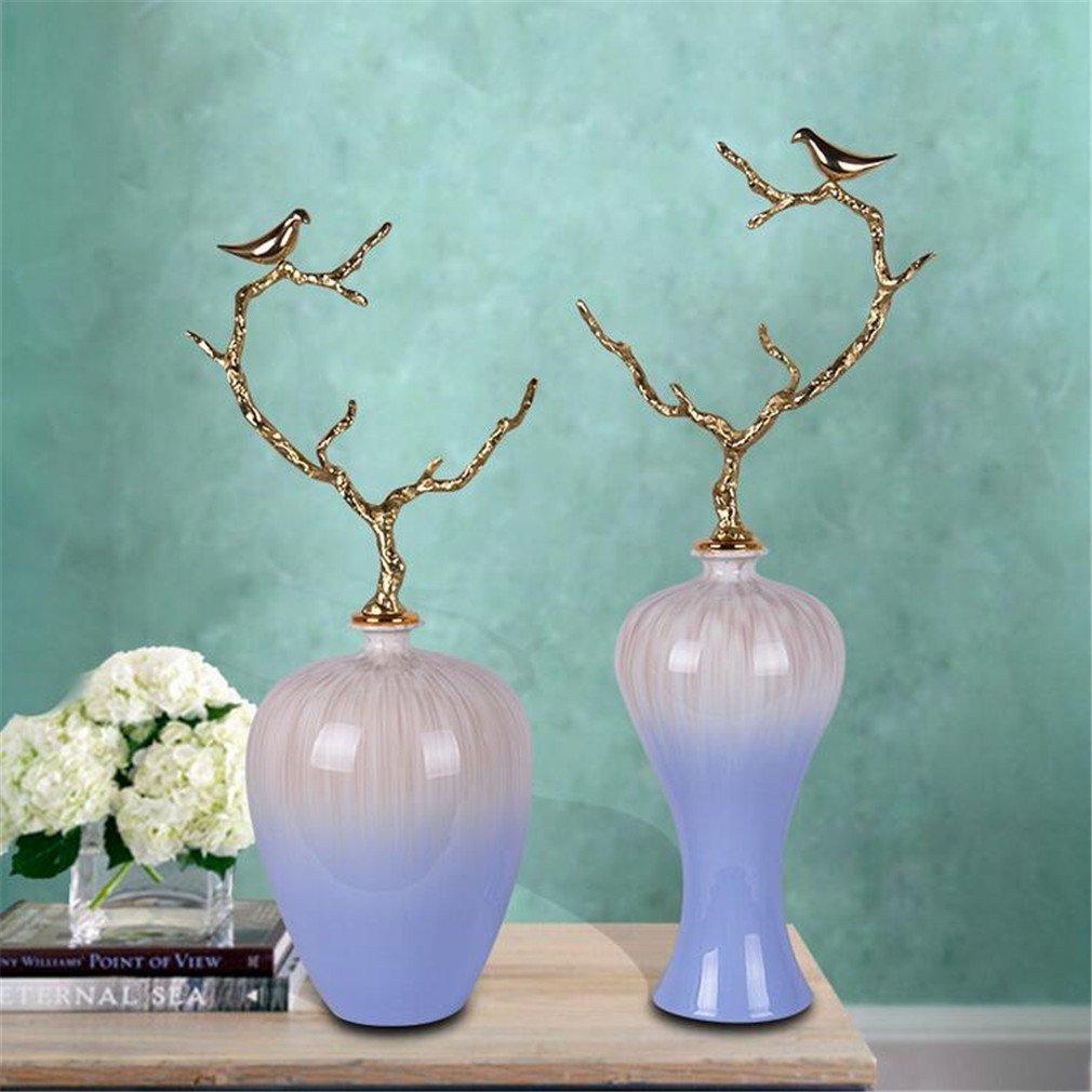 装飾彫刻中国のスタイルの窯釉セラミック花瓶リビングルームの玄関ファッション家の装飾工芸品 B07C6D6RR8
