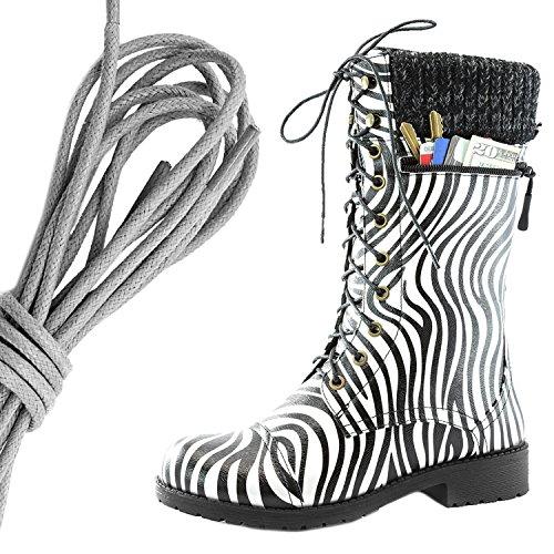 Dailyshoes Womens Combat Stijl Lace Up Enkellaarsje Ronde Neus Militaire Knit Creditcard Mes Geld Portemonnee Pocket Laarzen, Grijs Zebra Pu