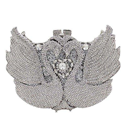 De De Cygne De Silver Femmes Luxe Soirée Main Cristal Diamants Sac à Sac 1wxqn6Y8