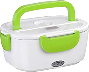 MINIHOTBOX Car Electric Lunch Box, Portable Food Warmer Heating, Food-Grade Stainless Steel Container, 12V 110V 40W Adapter, Car Truck Home Work Use, with Spoon and 2 Compartments (Green)