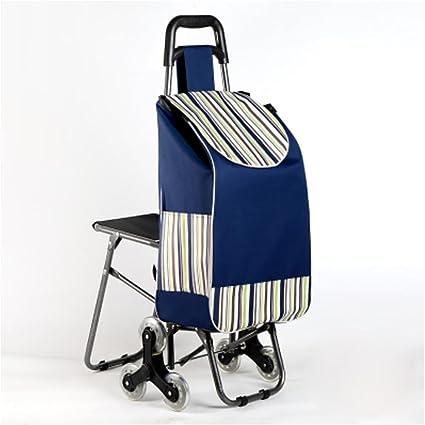 HCC& Trolley Dolly Shopping Carrito de supermercado Plegable Escalar las escaleras Supermercado Handcart 6 ruedas Carrito
