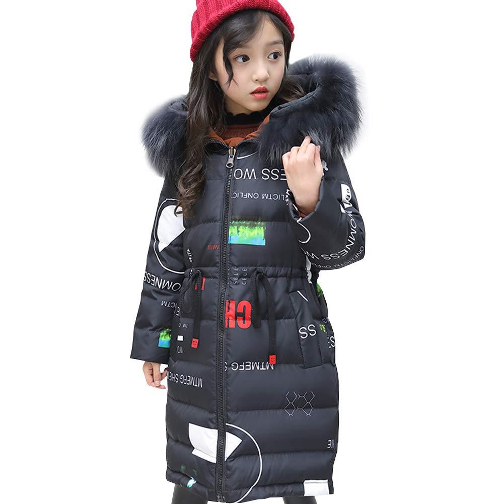 Noir   Motif 12-14 ans   160 LSERVER Doudoune Fille Manteau d'hiver Enfant Parka Longue Vest Blouson Capuche Fausse Fourrure Chaud