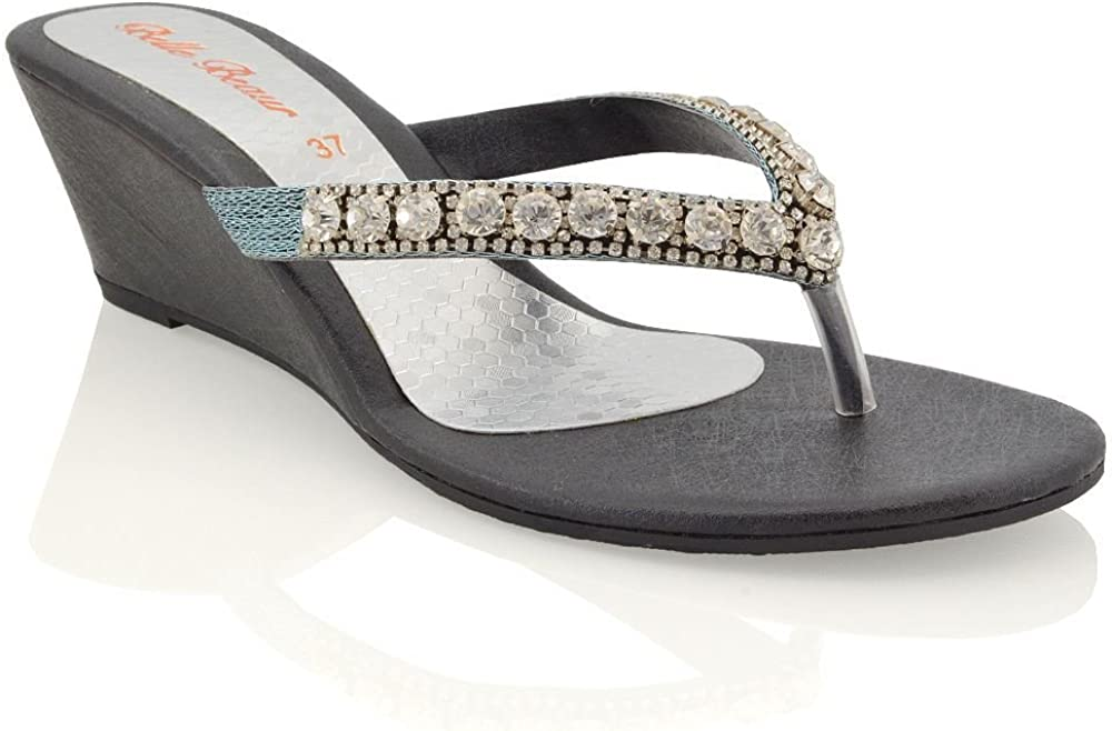 ESSEX GLAM Womens Low Wedge Heel Sandals Rhinestones Flip Flops Synthetic Leather Toe Post Sparkly Slip On Shoes
