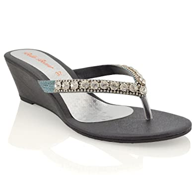 be6e2029321a0 New Womens Low Heel Wedge Diamante Sandals Ladies Toe Post Sparkly Slip ON Shoes  Black