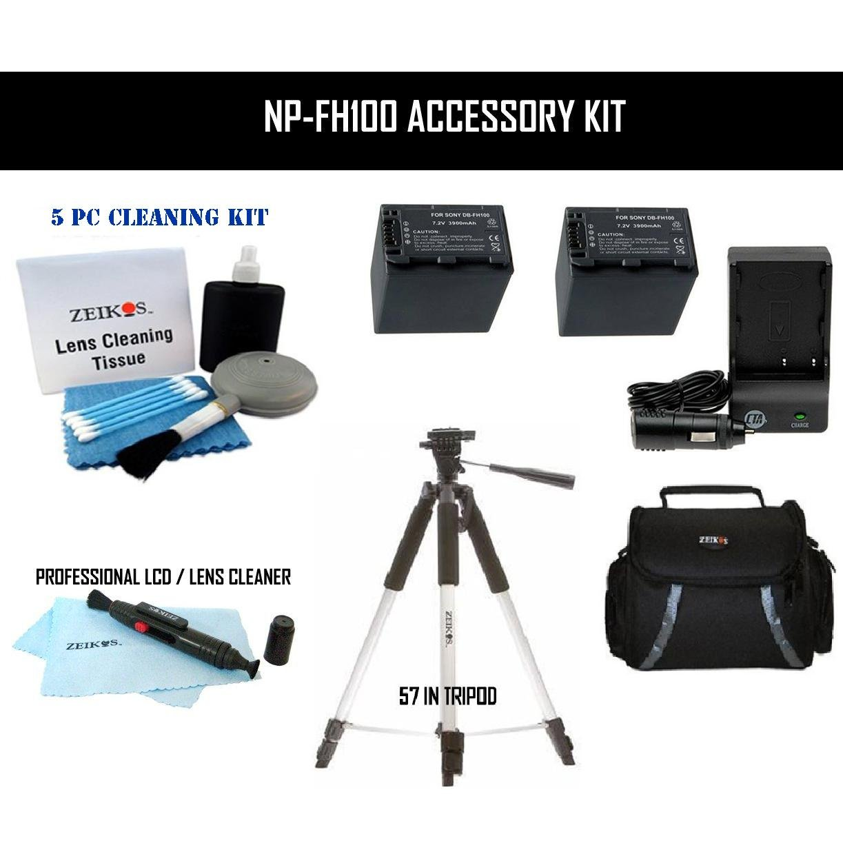 Advanced NP-FH100 Accessory Kit for Sony Camcorders/HandyCams DCR-DVD103, DCR-DVD105, DCR-DVD-108, DCR-DVD203, DCR-HC20, DCR-HC21 with Tripod, Rapid Charger, 2x Lithium-Ion Replacement Batteries, Cleaning Kit and Deluxe Carrying Case by ClearMax
