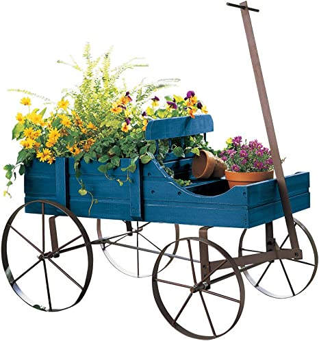 Amish Wagon Decorative Indoor/Outdoor Garden Backyard Planter, Blue best spring home decor