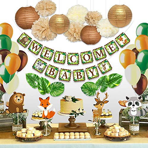 Animal Themed Baby Shower Ideas (Sweet Baby Co. Woodland Baby Shower Decorations Animals Theme Neutral Party Supplies for Boy or Girl With Welcome Banner, Forest Fox Animal Creatures, Greenery for Garland, Lanterns, Pom Pom,)