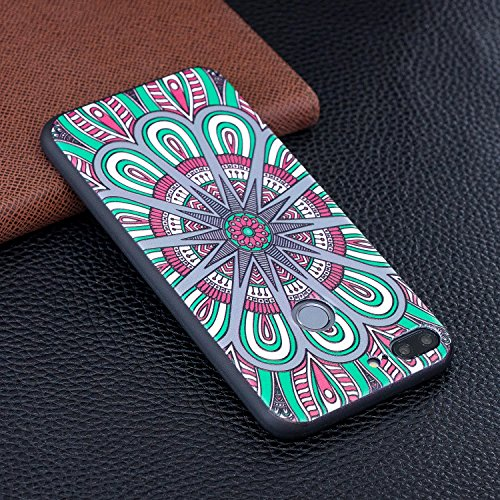EUWLY Huawei P20 Lite Silicone Case,Huawei P20 Lite Slim Case,3D Relief Painted Pattern Gel Case Protective Huawei P20 Lite TPU Bumper Case Anti-Scratches Silicone Case Cover for Huawei P20 Lite + 1 x Mandala