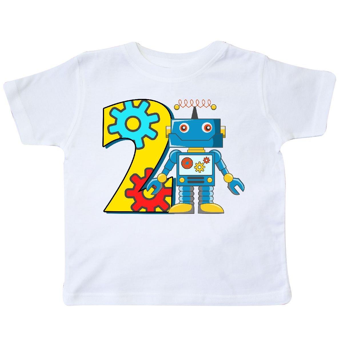inktastic 2nd Birthday Robot Toddler T-Shirt 3T White
