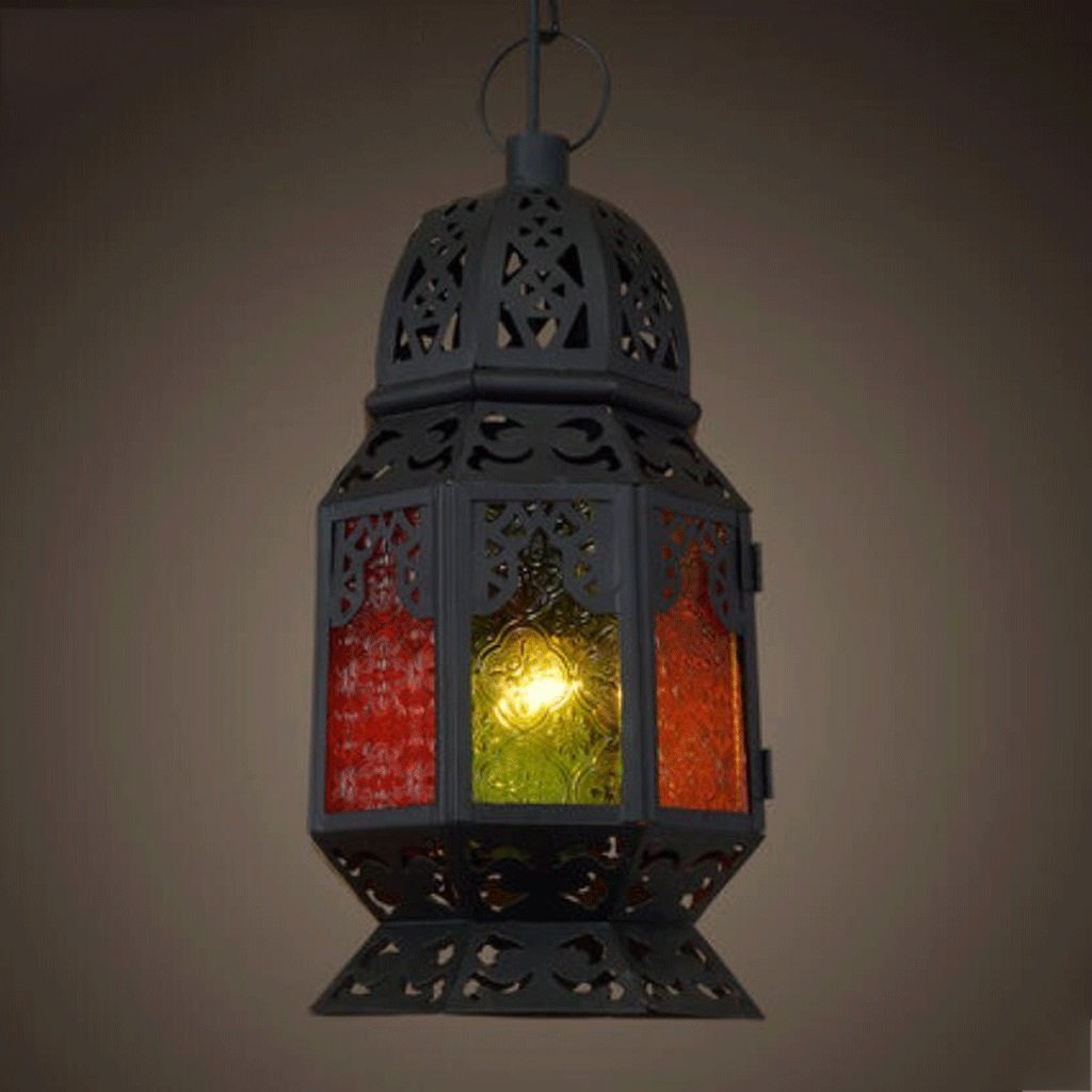 DIDIDD Ceiling Chandelier-Chandelier Creative Southeast Asia Thai Mediterranean Continental Morocco Palace Colored Chandelier ( Style : a ),A