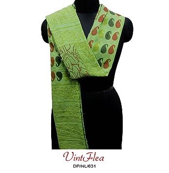 Indian Green Sari Stola Schal aus Baumwolle zum Basteln, Nähen ...