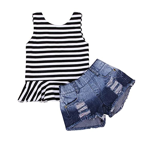 65ca4a0664936 Cuekondy 2019 Summer New Toddler Baby Girls Striped Print Vest Tops T-shirt  +Hole