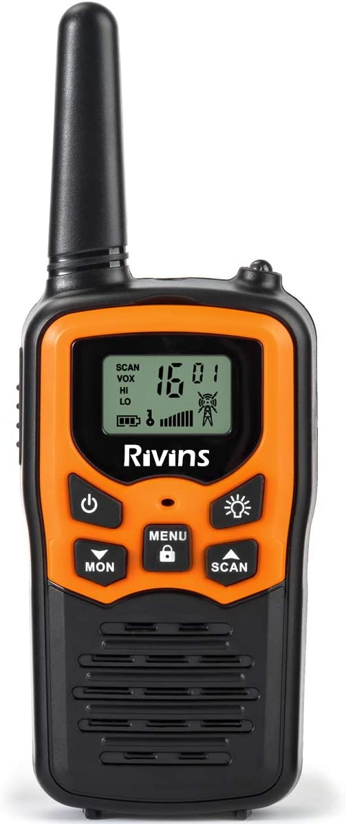 Rivins RV-7 Walkie Talkies for Adults Long Range 6 Pack 2-Way Radios Up to 5 Miles Range in Open Field 22 Channel FRS GMRS Walkie Talkies UHF Handheld Walky Talky Black Orange