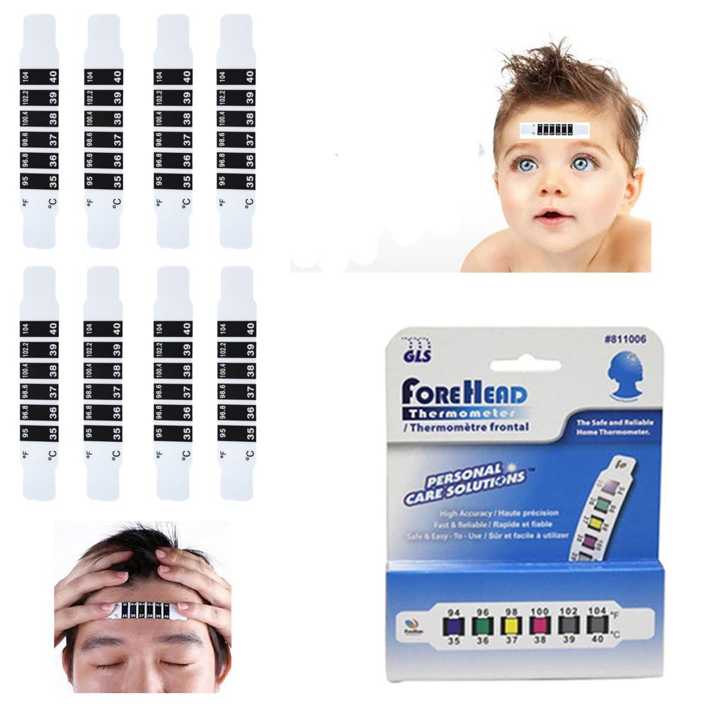 Amazon.com: 8 Forehead Thermometer Strip Adult Baby Disposable Head Fever Body Temperature!: Industrial & Scientific