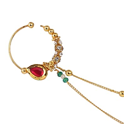 897691bbc9db ... Polished Semi Precious Kundan Polki   Diamonds Nath Nose Pin Nose Ring  for Women. Online at Low Prices in India