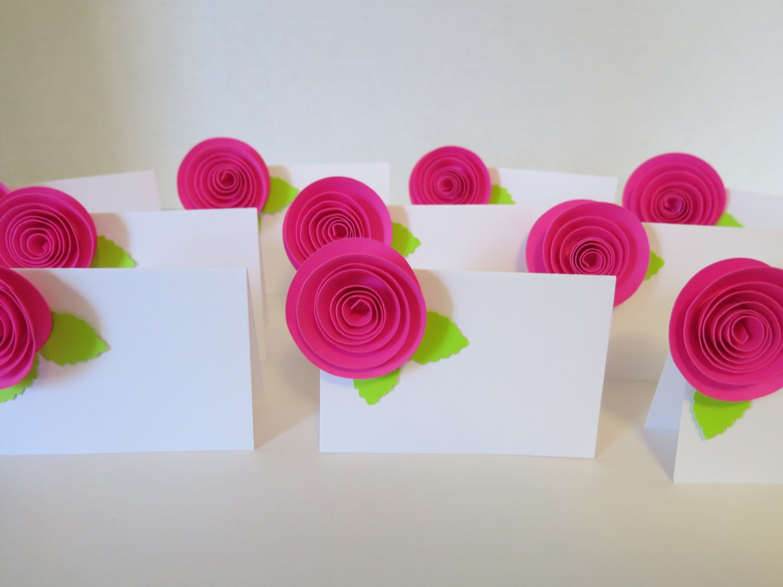 Amazon 10 Neon Hot Pink Paper Fower Escort Cards Fuchsia Roses