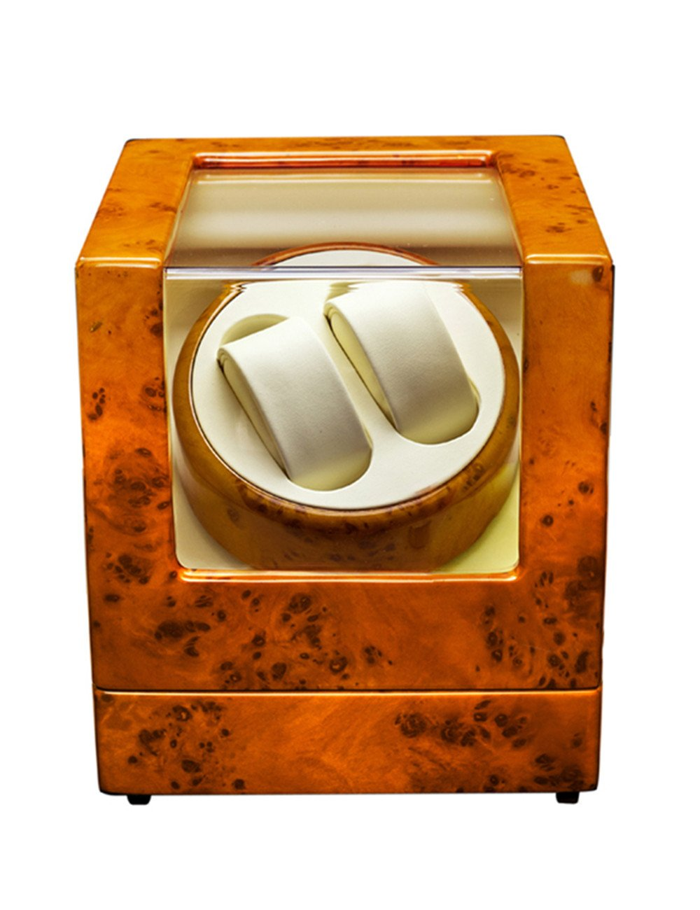 Superior Self Winding Boxes for Automatic Watches 2+0 Quiet Rotary Watch Winder in Orange Sheet Material