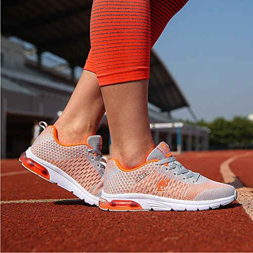 Image of Camel Air Running Shoes Women Fly Knit Overpronation Lace-up Sports Athletic Sneakers Lightweight Non Slip (7.5,Grey)