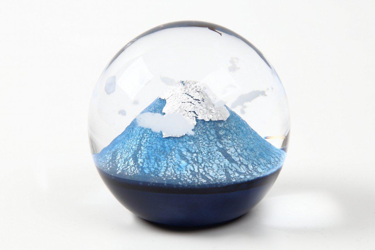富士と夫婦鷹 小 富士山 オブジェ 手作りガラス細工 野口硝子 FF-82973062 B014SQPZ8I