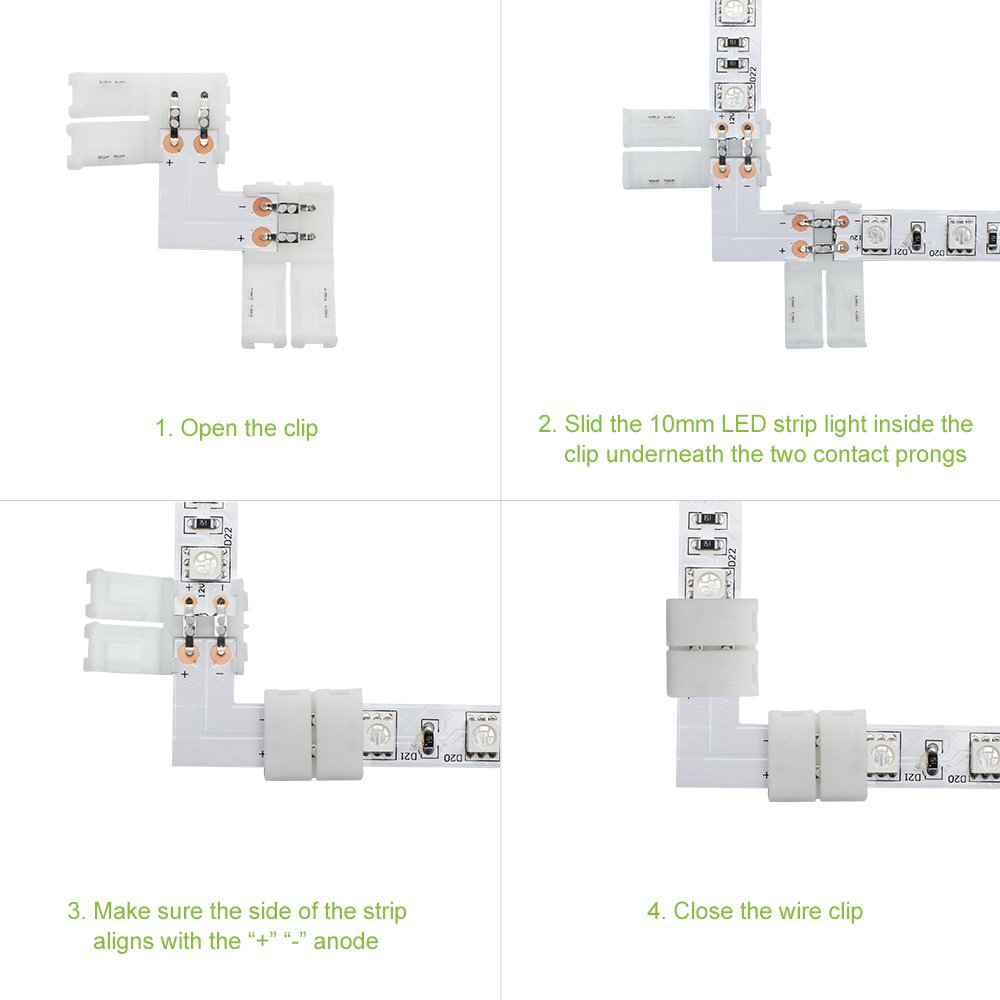 Lightingwill 10pcs Pack L Shape Solderless Snap Down 2 Pin Led Strip Wireclip For Wiring Light Strips Photo 3 Connector Right Angle Corner Or 90 Turning Connection Of 10mm Wide 5050 5630