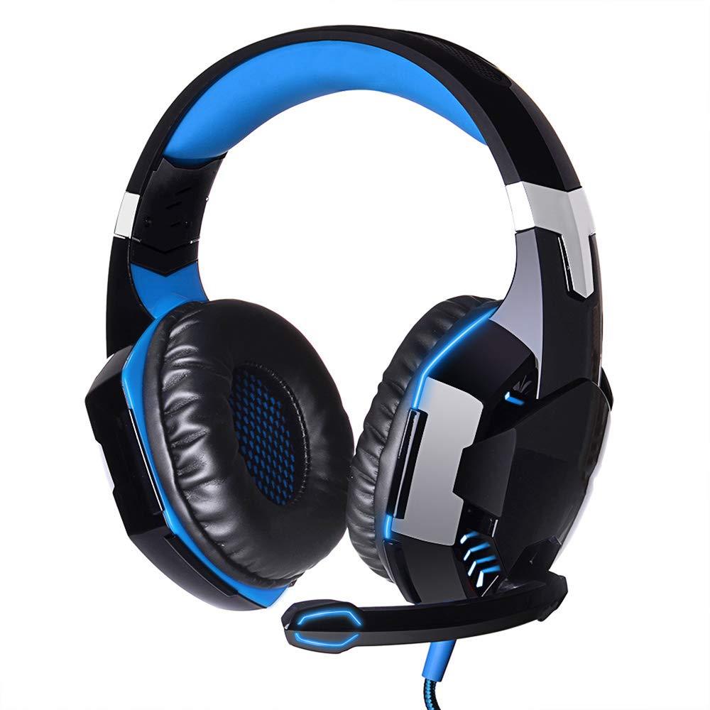 LQUYY E-スポーツ ヘッドセット ヘッドマウント ステレオ サラウンドチャンネル ライン コントロール コンピューター ゲーム ヘッドセット ブルー, ブルー, 654-049-866 B07MMB56DN ブルー