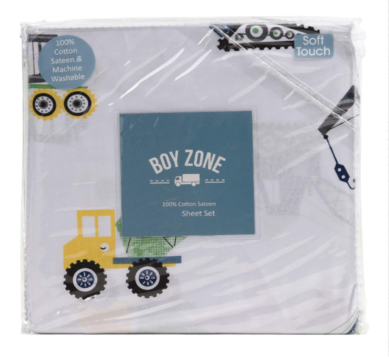 Boy Zone Construction フルシートセット 4ピース コットン トラック トラクター 車 イエロー グリーン 寝具 B07GH6MS1Q