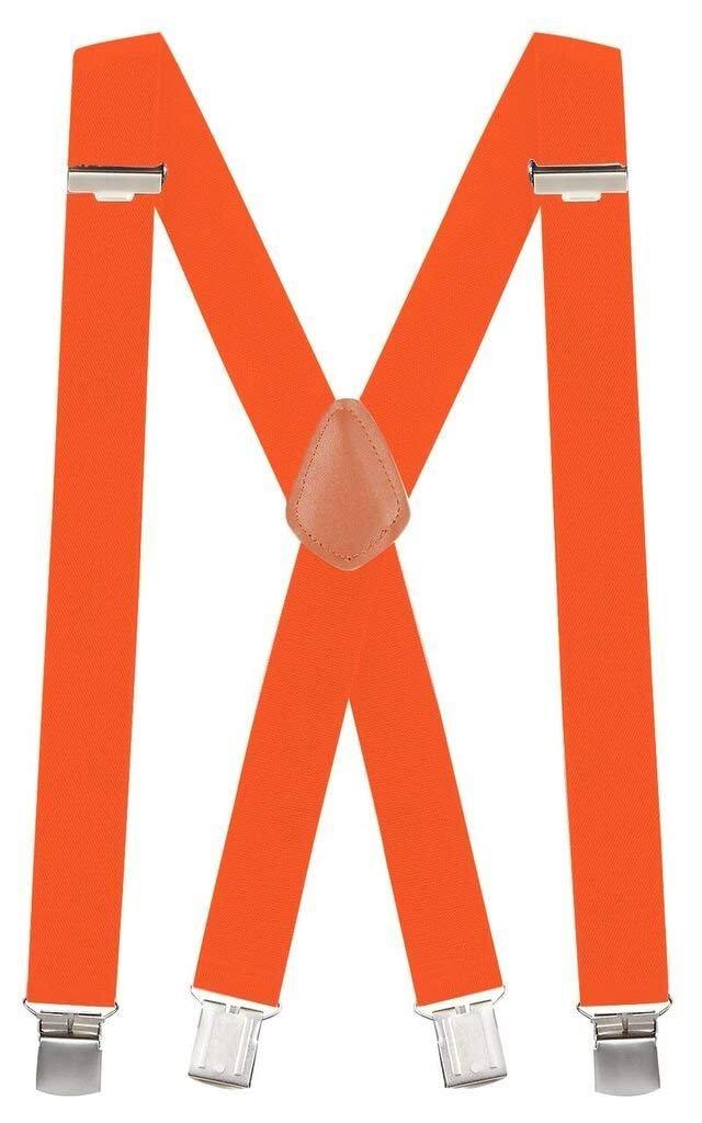 Buyless Fashion 48'' Men's Heavy Duty Work Elastic Adjustable 1 1/4'' X Back Suspender-Orange