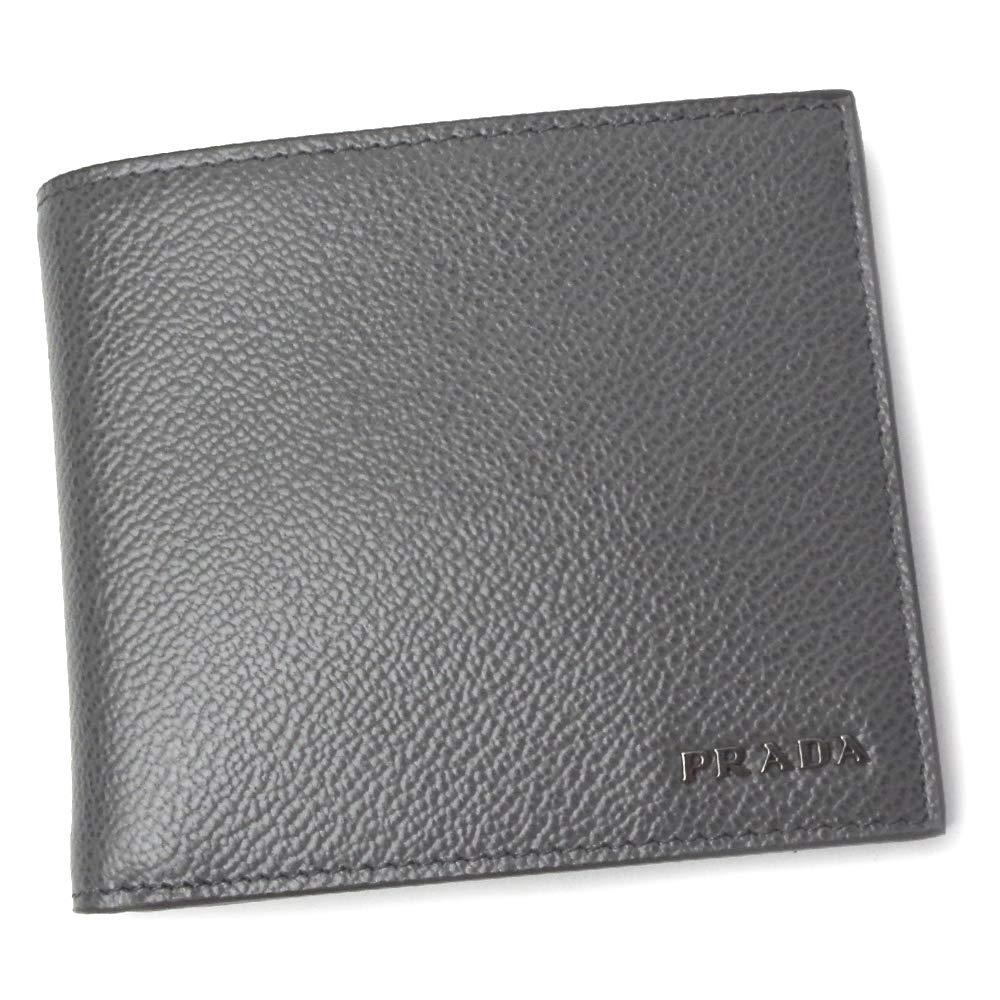 プラダ 本革 折財布 メンズ 2MO738 VITELLO MICRO GRAIN MERCURIO+NERO [並行輸入品] B07QGJJVYR