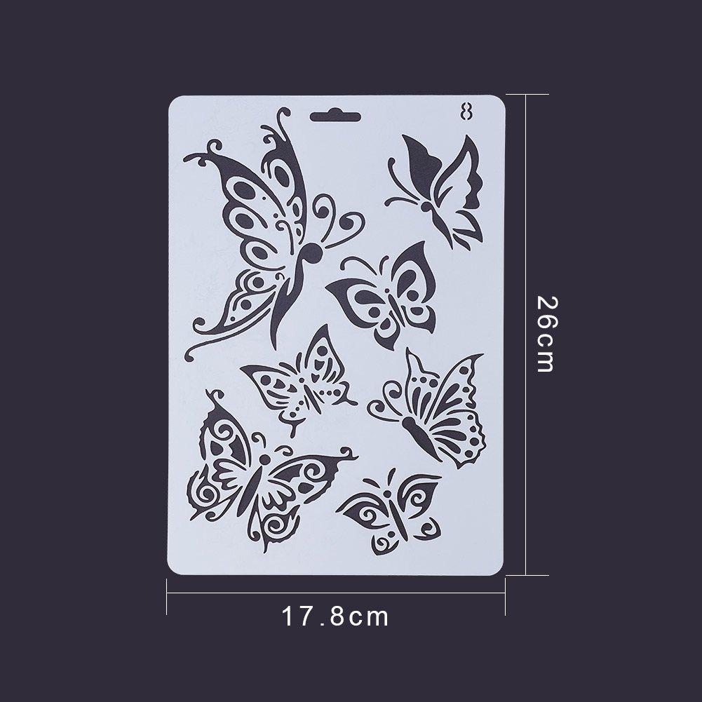 PandaHall Elite 8 Pezzi Acciaio di Inossidabile Stencil di Acciaio Disegno   47204f