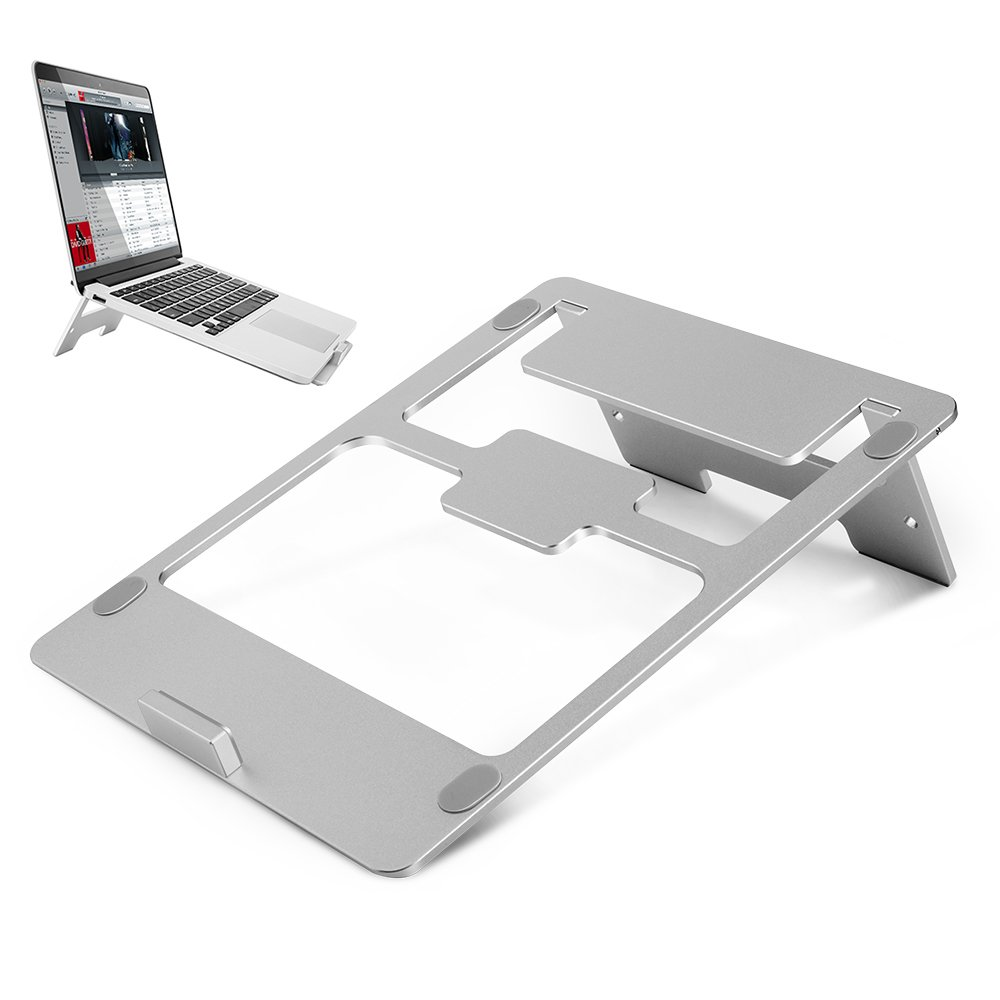 Laptop Stand Aluminum MacBook Pro Stand 7-15'' Portable Folding Ventilated Computer Stand for MacBook Pro/Air, Apple Laptop Notebook and Tablet with Anti-Slip Silicone Pad