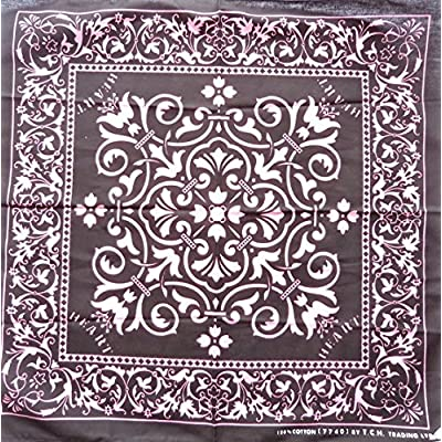 Pink Black Heart Paisley P-40 Head Wrap Dusk Mark Bandana Scarf Handkerchief, 20 inches + Free Gift