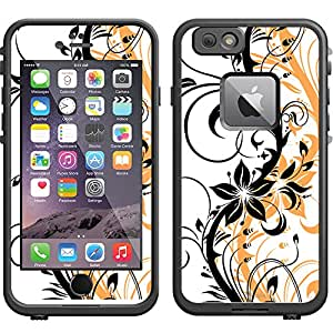 Skin Decal for LifeProof Apple iPhone 6 Case - Black Branch With Orange Shadow