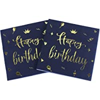 40 stuks verjaardagsservetten, Happy Birthday-servetten, gouden foliepapieren servetten, hoogwaardige papieren servetten…