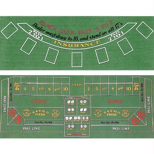 Blackjack and Craps 2 Sided Layout 36-Inch x 72-Inch