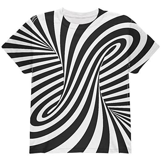 Amazoncom Trippy Black And White Swirl All Over Youth T Shirt