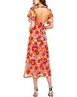 Sexy V Neck Backless Chiffon Dress Women Floral Print Boho Long Dress Vintage Short Sleeve Beach