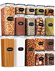 Airtight Food Storage Containers, 16 PCS, BPA Free, PRAKI Leek Proof Plastic Kitchen Storage Containers Set with Lids for Cereal, Flour, Snack, Sugar, with 20 Labels & Marker (Black)