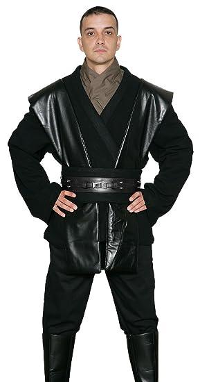 Jedi-Robe Star Wars Anakin Skywalker Sith Disfraz - Túnica Set - Réplica Star Wars Disfraz - Negro, Negro, Hombre: XL