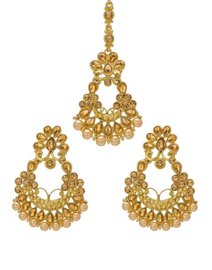 Bindhani Wedding Bridal Indian Head Jewelry Maang Tikka Mang Tika Earrings Set For Women by Bindhani
