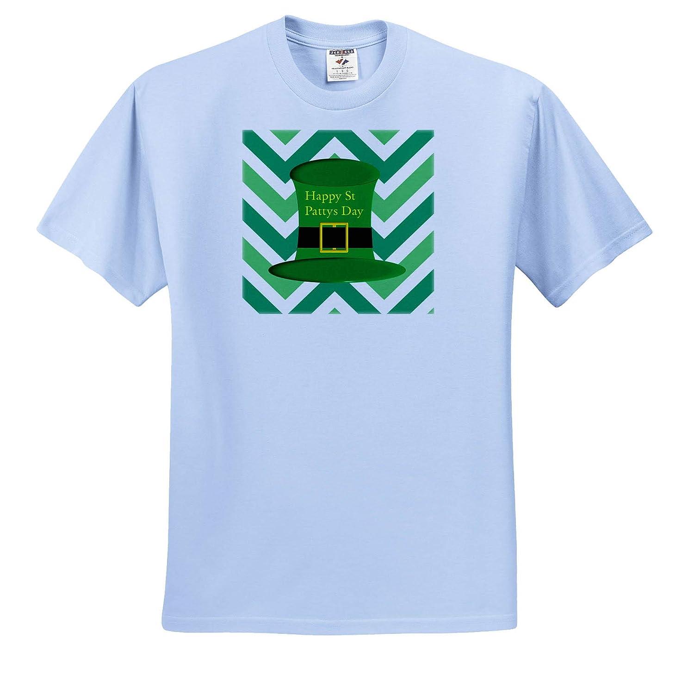 T-Shirts 3dRose Lens Art by Florene Image of Green Leprechaun Hat On Chevron Stripes St Pattys Day
