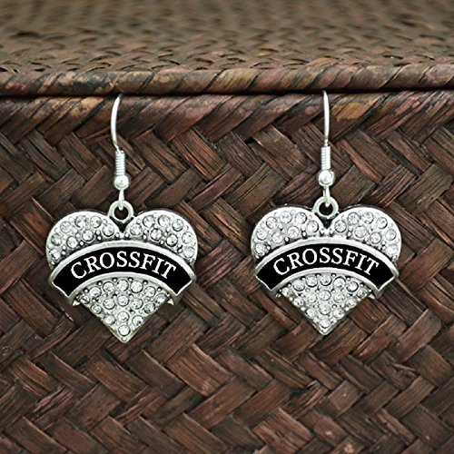 CROSS FIT Heart Engraved Earrings are Embellished with Crystal Rhinestones.Perfect Gift for the Cross Fit Exercise ()