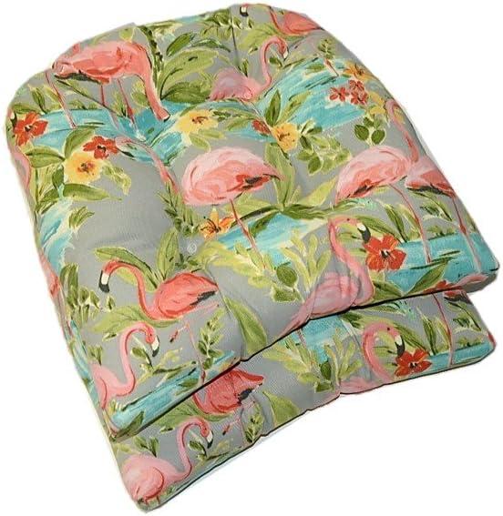 Resort Spa Home Decor Set of 2 – Universal Tufted U-Shape Cushions for Wicker Chair Seat – Waverly Elegant Tropical Platinum Flamingo – Grey Aqua Green Coral