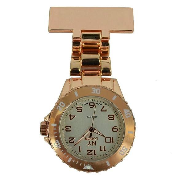 Prince NY London goma unisex - Reloj de bolsillo para Enfermeras En Metal Y Oro Rosa y Blanco cara color giratoria con 3d marcapáginas Combo se vende por ...