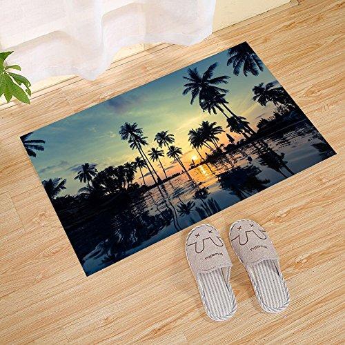 JANNINSE Sunset Beach Palm Tree Pool Reflection Wave Stripe Door Mat, Extra Thick Door Mat | Entrance Door Mat For Patio, Front Door | Decorative Season | ()