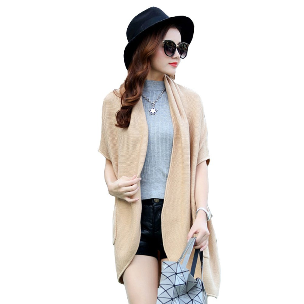 VEC Brand Loose Long Style Knitted Shawl Coat for Students (Camel)