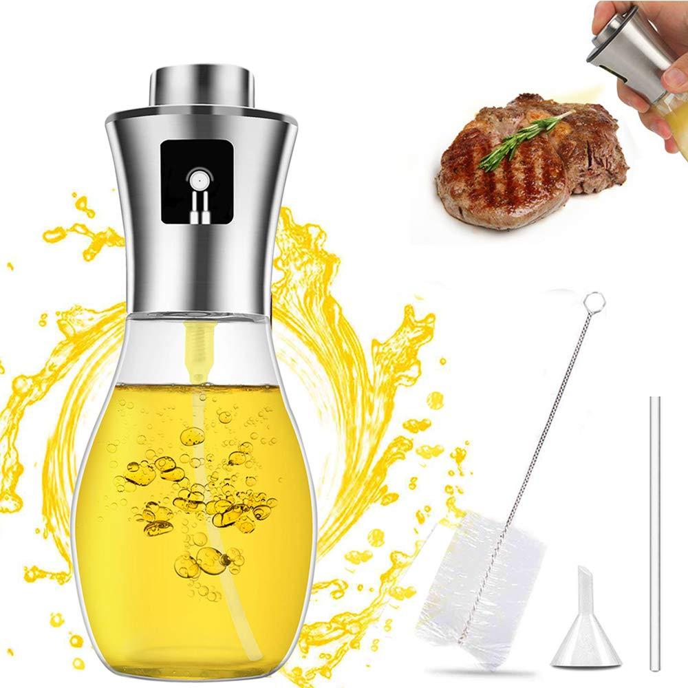 INVOKER Olive Oil Sprayer for Cooking Bottle 200ml, Refillable Oil and Vinegar Dispenser Bottle with Basting Brush and oil Funnel for BBQ Making Salad Baking Roasting Grilling Frying by INVOKER