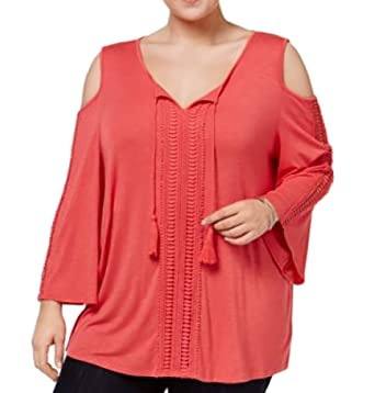b7e6004778be31 Style   Co. Plus Size Cold-Shoulder Peasant Top (3X) at Amazon ...