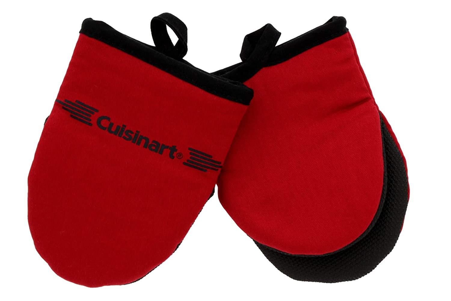 Cuisinart Neoprene Mini Oven Mitts, 2pk - Non-Slip Heat Resistant Gloves Protect Hands and Surfaces from Hot Cookware, Kitchenware Items - Ideal Mini Kitchen Set with Hanging Loop - Red with Black