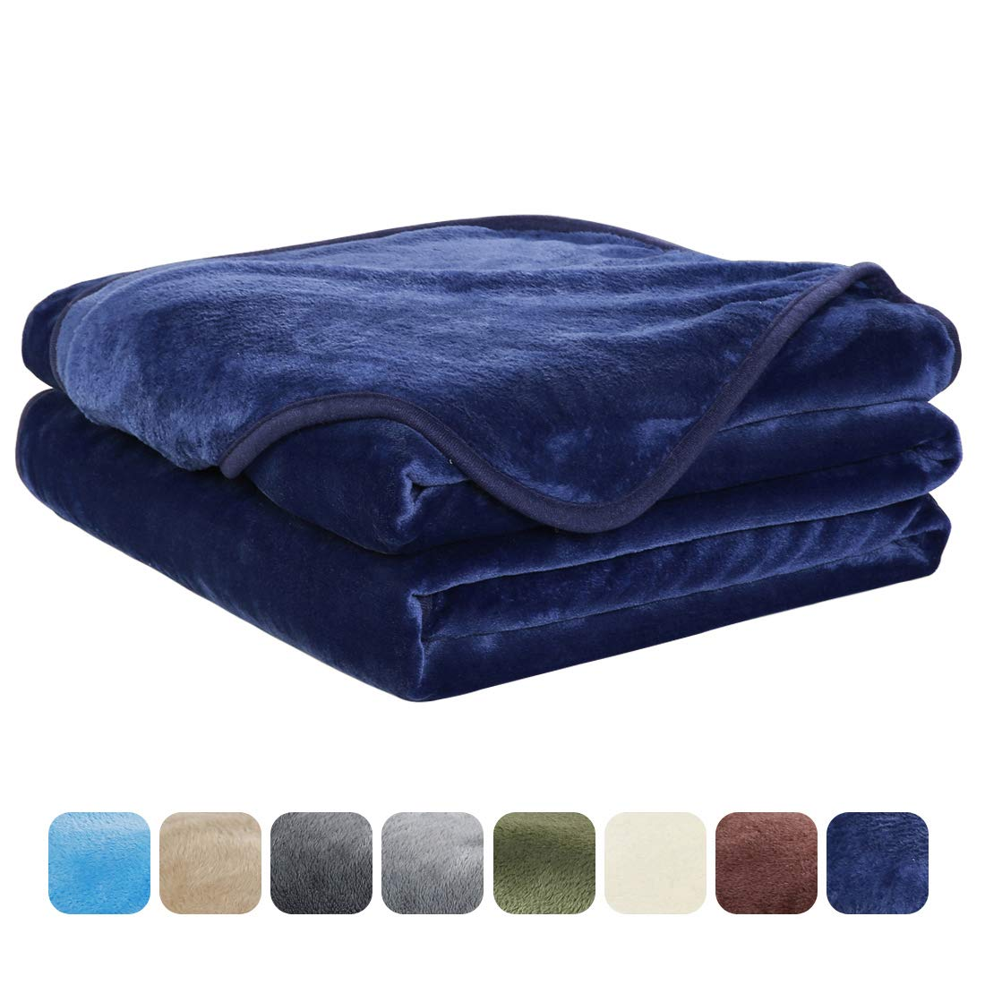 EASELAND Soft Twin Size Blanket All Season Warm Fuzzy Microplush Lightweight Thermal Fleece Blankets for Couch Bed Sofa,66x90 Inches,Dark Blue