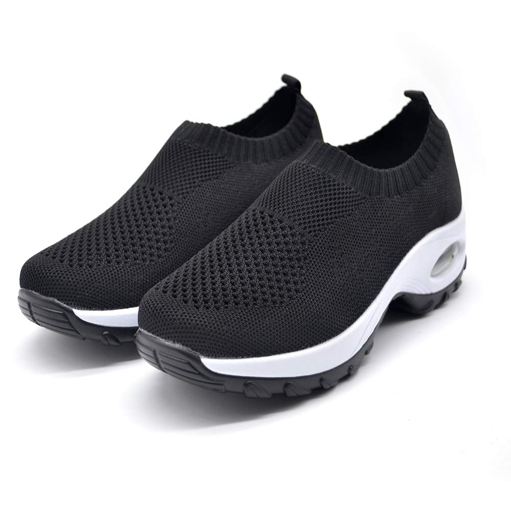 STQ Slip On Breathe Mesh Walking Shoes Women Fashion Sneakers Comfort Wedge Platform Loafers